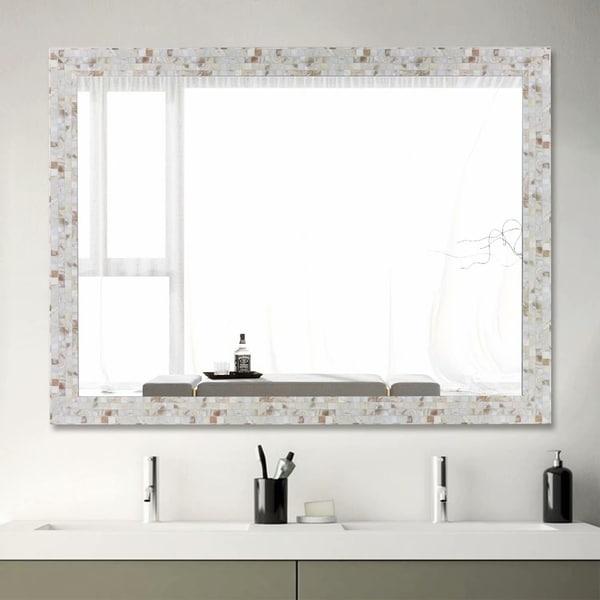 Rustic Large Rectangle Wall-Mounted Bathroom Vanity Mirror - 31.5x23.6