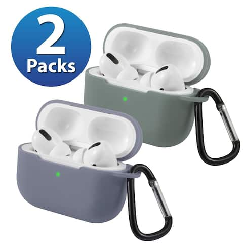 2-Pack For AirPods Pro Case [Midnight Green & Gray] Ultra Thin Silicone Protective Cover For Apple AirPods Pro 2019 by Insten