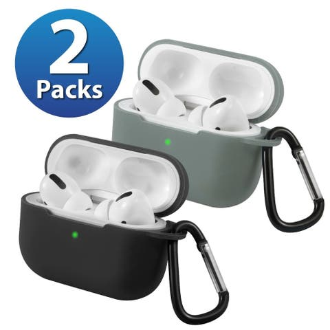 2-Pack For AirPods Pro Case [Midnight Green & Black] Ultra Thin Silicone Protective Cover For Apple AirPods Pro 2019 by Insten
