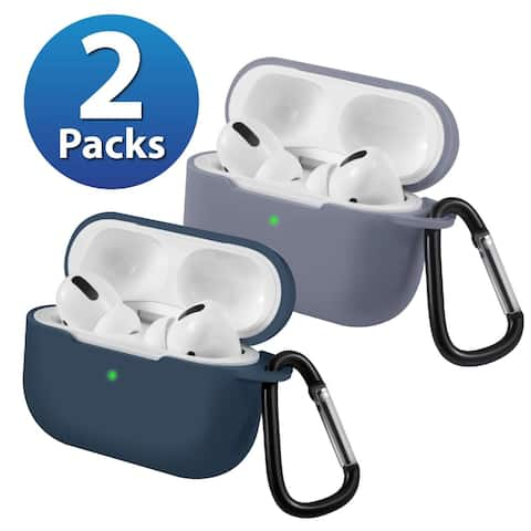 2-Pack For AirPods Pro Case [Midnight Blue & Gray] Ultra Thin Silicone Protective Cover For Apple AirPods Pro 2019 by Insten
