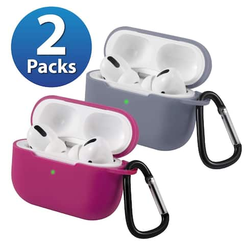 2-Pack For AirPods Pro Case [Lavender Gray & Red] Ultra Thin Silicone Protective Cover For Apple AirPods Pro 2019 by Insten