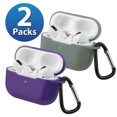 2-Pack For AirPods Pro Case [Midnight Green & Purple] Ultra Thin Silicone Protective Cover For Apple AirPods Pro 2019 by Insten