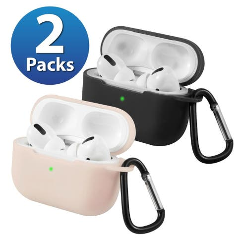 2-Pack For AirPods Pro Case [Black & Sand Pink] Ultra Thin Silicone Protective Cover For Apple AirPods Pro 2019 by Insten