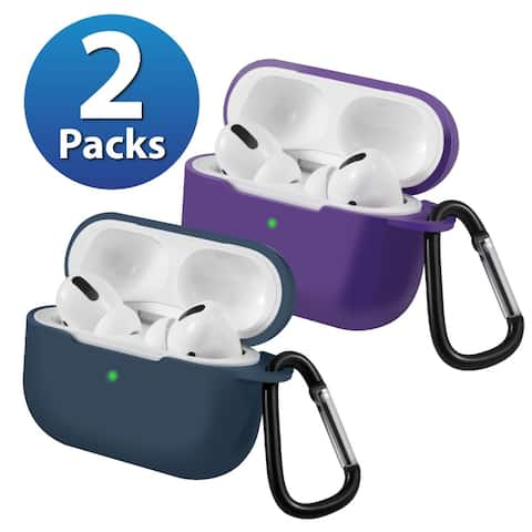 2-Pack For AirPods Pro Case [Midnight Blue & Purple] Ultra Thin Silicone Protective Cover For Apple AirPods Pro 2019 by Insten