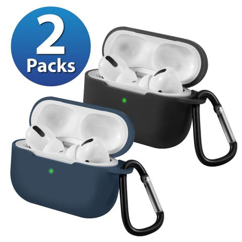 2-Pack For AirPods Pro Case [Midnight Blue & Black] Ultra Thin Silicone Protective Cover For Apple AirPods Pro 2019 by Insten