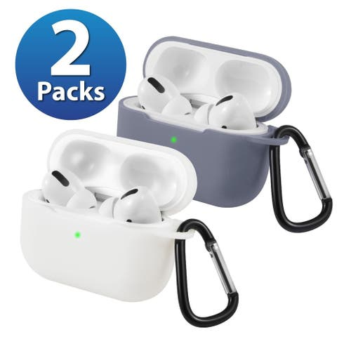2-Pack For AirPods Pro Case [Lavender Gray & White] Ultra Thin Silicone Protective Cover For Apple AirPods Pro 2019 by Insten