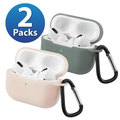 2-Pack For AirPods Pro Case [Midnight Green & Pink] Ultra Thin Silicone Protective Cover For Apple AirPods Pro 2019 by Insten