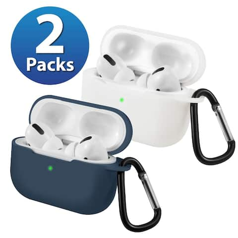 2-Pack For AirPods Pro Case [Midnight Blue & White] Ultra Thin Silicone Protective Cover For Apple AirPods Pro 2019 by Insten