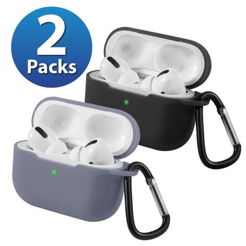 2-Pack For AirPods Pro Case [Black & Lavender Gray] Ultra Thin Silicone Protective Cover For Apple AirPods Pro 2019 by Insten