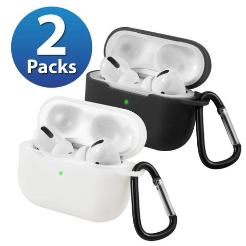 2-Pack For AirPods Pro Case [Black & White] Ultra Thin Silicone Protective Cover For Apple AirPods Pro 2019 by Insten
