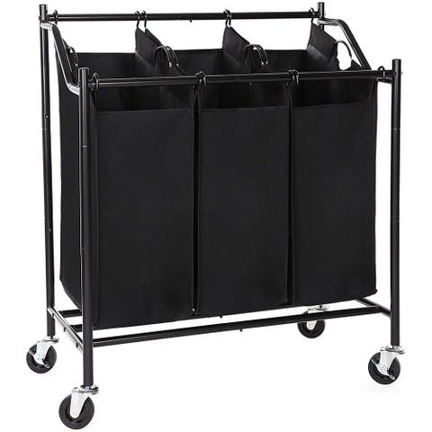 3 Bag Metal Frame Laundry Storage Cart with Casters, Black