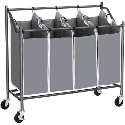 4 Bag Metal Frame Laundry Hamper with Casters, Gray