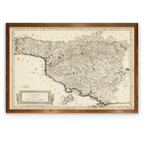 Antique Map of Tuscany-Framed Canvas - Dark maple - 22X30
