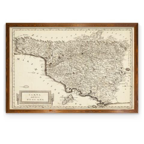 Antique Map of Tuscany-Framed Canvas - Dark maple - 16X22
