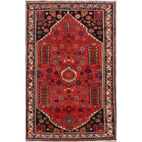 Geometric Red Lilian Persian Area Rug Hand Knotted Kitchen Carpet 3 10 X 5 8 Overstock 30820102