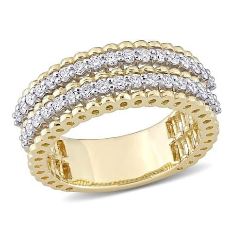 Miadora 14k 2-tone White and Yellow Gold 1/2ct TDW Diamond Double Row Anniversary Wedding Band Ring