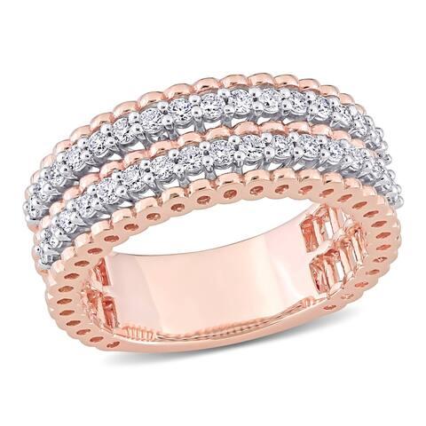 Miadora 14k 2-tone White and Rose Gold 1/2ct TDW Diamond Double Row Anniversary Wedding Band Ring