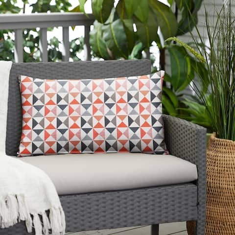 Geometric Indoor/Outdoor Knife Edge Lumbar Pillow by Havenside Home