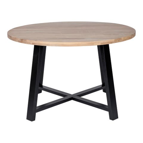 "Aurelle Home Morgan Modern Solid Oak Round Dining Table - 47"" Round"