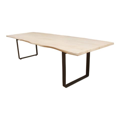 """Aurelle Home Modern White Wood and Iron Rectangular Dining Table - 118"""" x 39"""""""