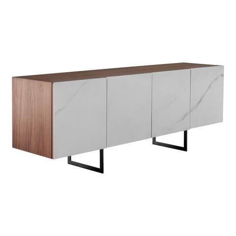 """Aurelle Home Modern Ceramic Door Walnut Sideboard - 76"""" x 19"""""""