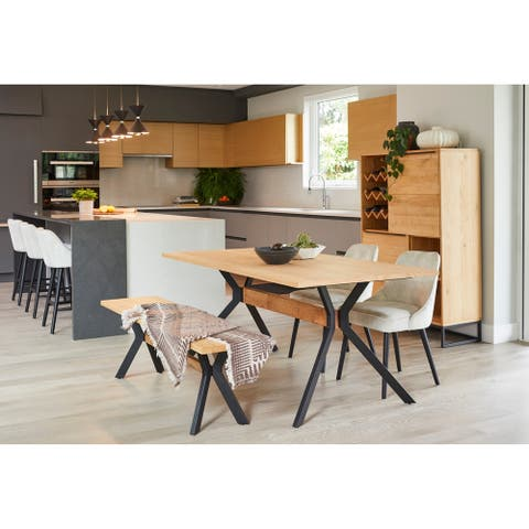 "Aurelle Home Natural Modern Oak and Steel Dining Table - 71"" x 35"""