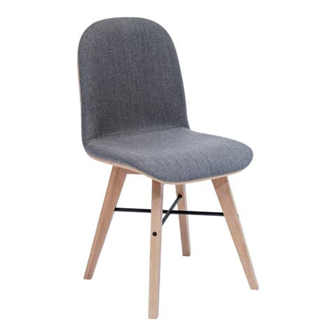 """Aurelle Home Natina Modern Wood and Fabric Dining Chair - 22"""" x 24"""""""