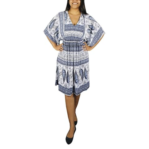 Womens Vintage Casual Summer Paisley Batwing Blue Midi Dress