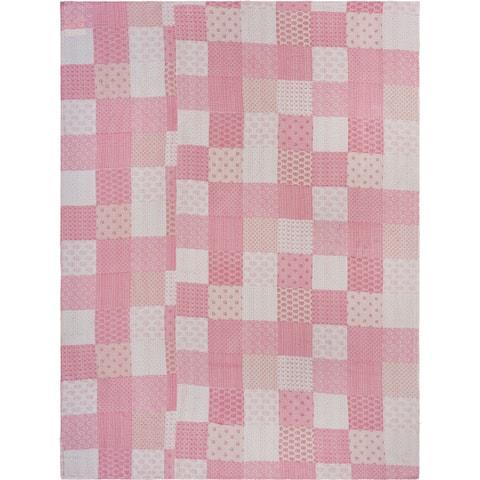 Soft Pink Kantha Coverlet