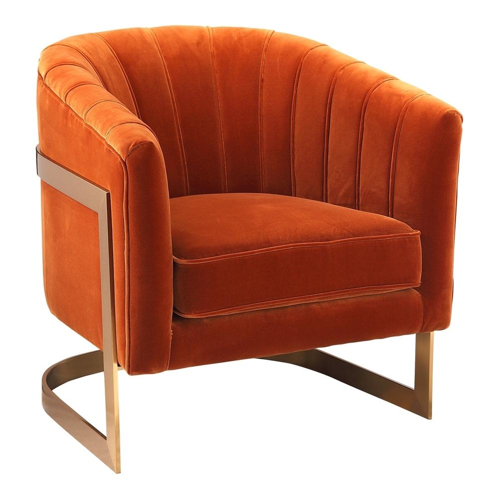 Aurelle Home  Brass Base Orange Upholstered Accent Chair - 28 inch x 28 inch