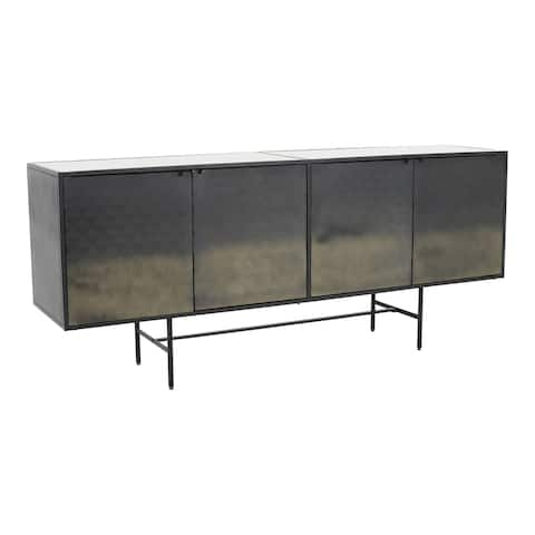 """Aurelle Home Modern Marble Top and Iron Base TV Table - 70"""" x 17"""""""