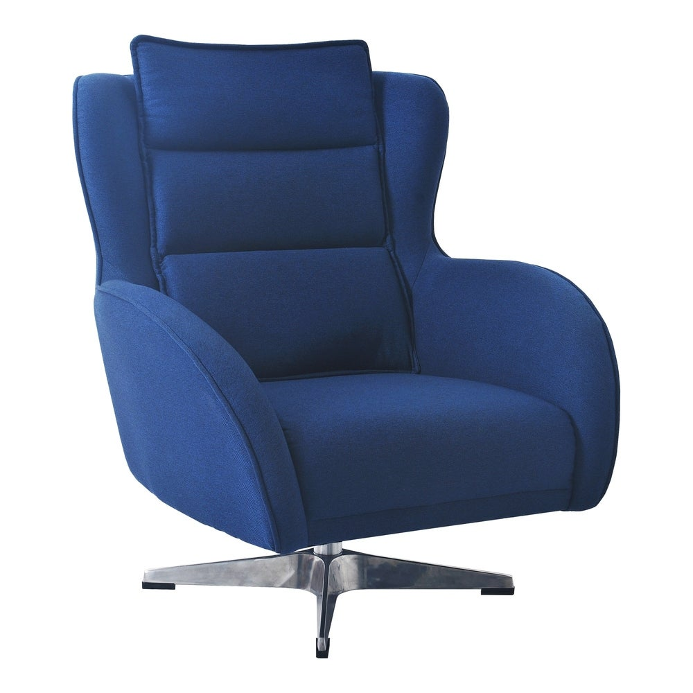 Aurelle Home  Blue Modern Upholstered Swivel Accent Chair - 34 inch x 30 inch