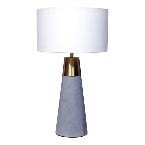 Aurelle Home Kyndra Cement and Gold Table Lamp. Opens flyout.