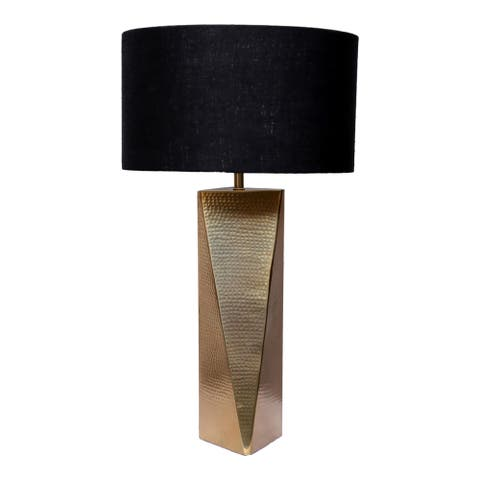 """Aurelle Home Hammered Gold Glam Aluminum Table Lamp - 13"""" W x 24"""" H"""
