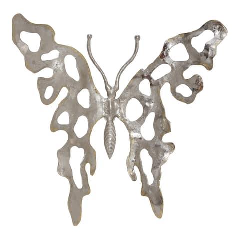 Aurelle Home Nickel Modern Metal Butterfly Wall Hanging
