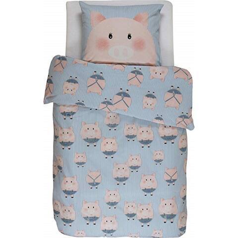 Covers & Co 144TC Cotton Blue Dbl-Full Piggy Duvet Cover