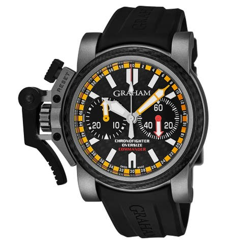 Graham Men's 2OVATCO.B01AK10 'Chronofighter' Black Carbon Fiber Dial Black Rubber Strap Chronograph Automatic Watch