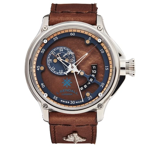 L. Kendall Men's K7-002 'K7' Brown Mother of Pearl Dial Brown Leather Strap 3 Hand Dual Time Swiss Automatic Watch
