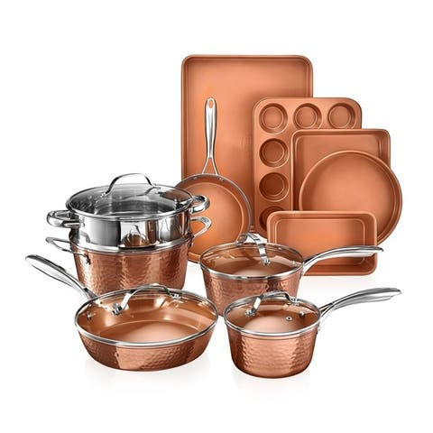 Gotham Steel Hammered Copper Non Stick 15pc Set