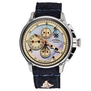 L. Kendall Men's K8-003A 'K8' Blue Mother of Pearl Dial Blue Leather Strap Chronograph Automatic Watch