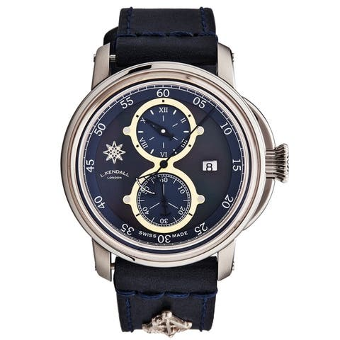 L. Kendall Men's K5-001 'K5' Black Mother of Pearl Dial Black Leather Strap Date Swiss Automatic Watch