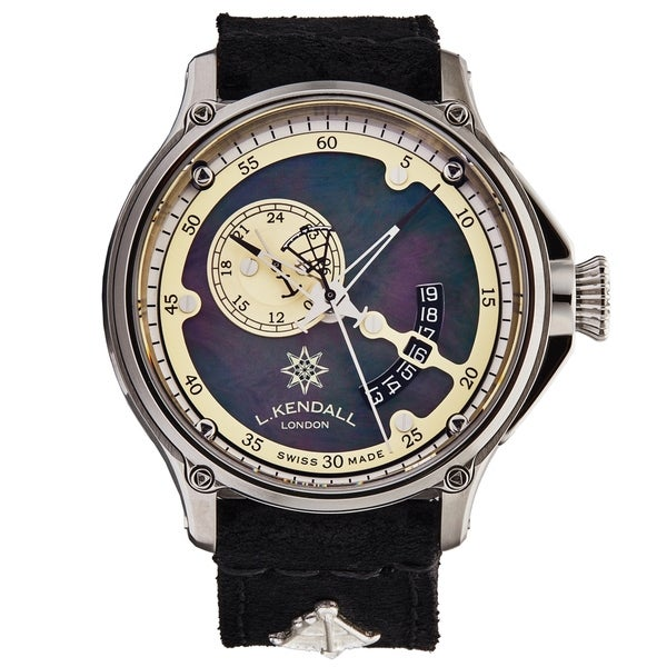 L. Kendall Men's K7-001 'K7' Black Mother of Pearl Dial Black Leather Strap 3 Hand Dual Time Swiss Automatic Watch
