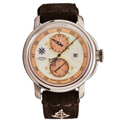 L. Kendall Men's K5-004 'K5' Ivory Mother of Pearl Dial Brown Leather Strap Date Swiss Automatic Watch