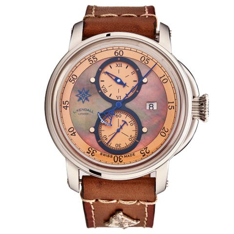 L. Kendall Men's K5-002 'K5' Brown Mother of Pearl Dial Brown Leather Strap Date Swiss Automatic Watch