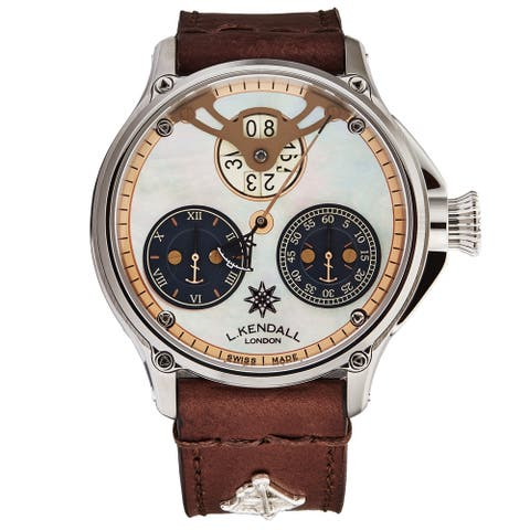 L. Kendall Men's K6-005A 'K6' Ivory Mother of Pearl Dial Brown Leather Strap Big Date Regulator Swiss Automatic Watch