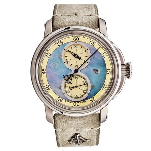 L. Kendall Men's K5-003 'K5' Blue Mother of Pearl Dial Ivory Leather Strap Date Swiss Automatic Watch