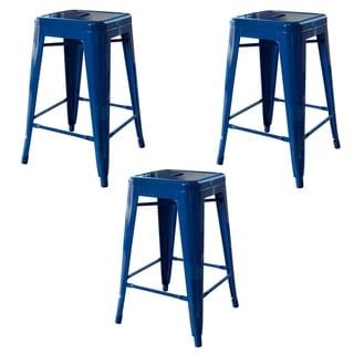 AmeriHome Loft Blue 24 in. Metal Bar Stool - 3 Piece