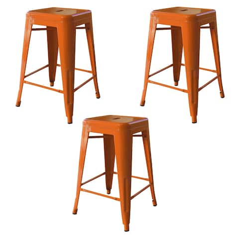 AmeriHome Loft Orange 24 in. Metal Bar Stool - 3 Piece