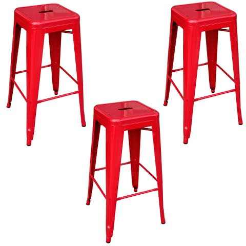 AmeriHome Loft Red 30 in. Metal Bar Stool - 3 Piece