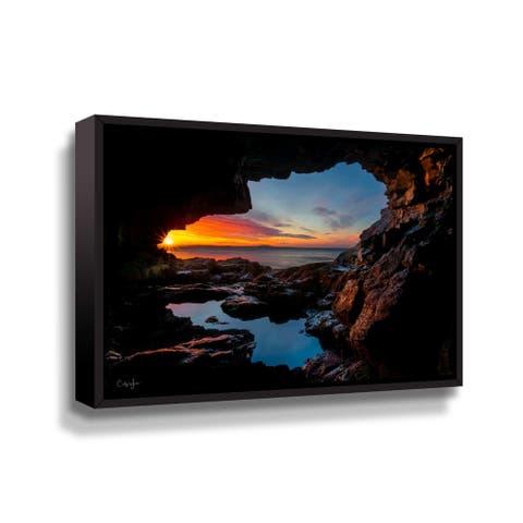 Cave Sunrise in Maine Gallery Wrapped Floater-framed Canvas